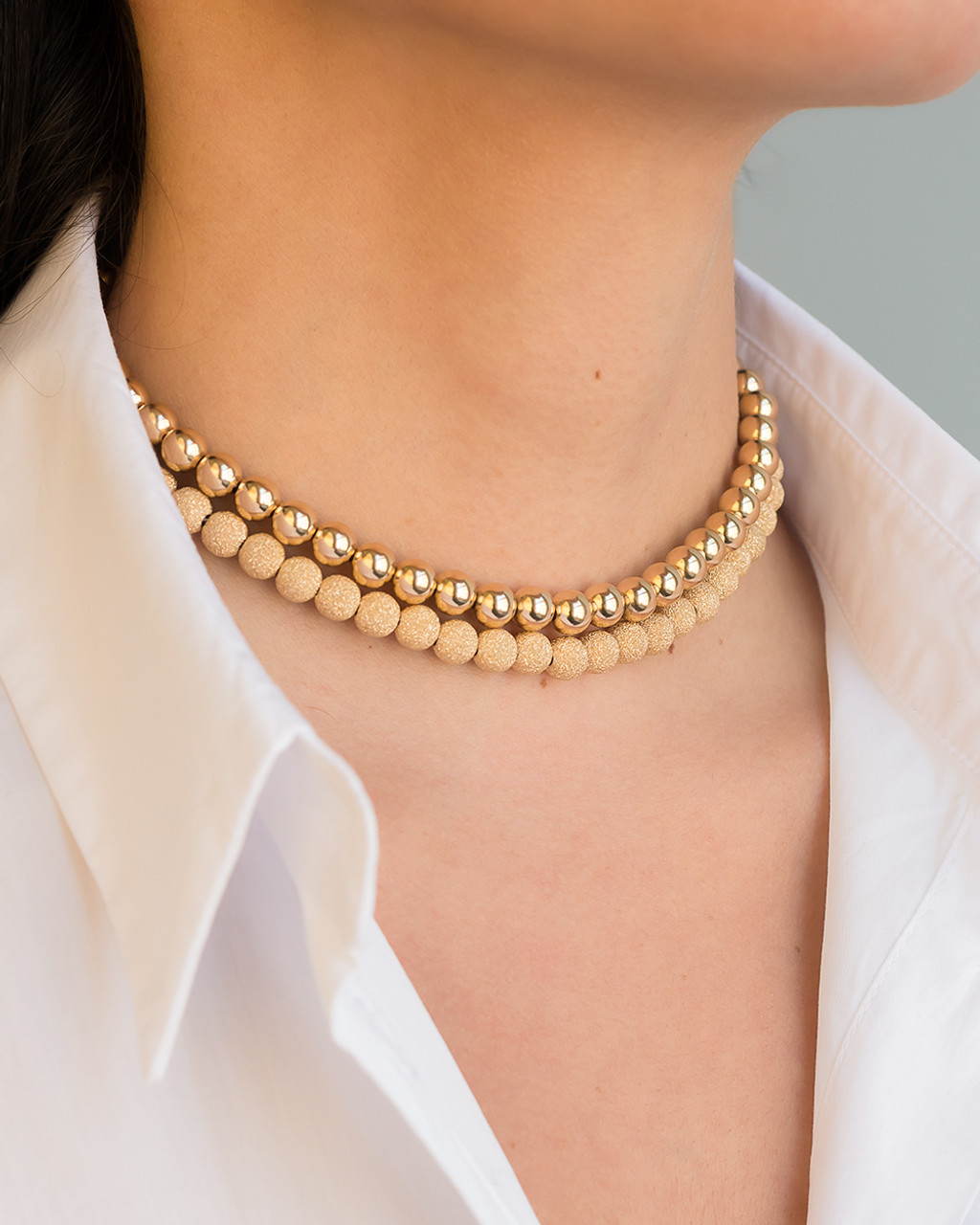 14k gold 5mm bead necklace