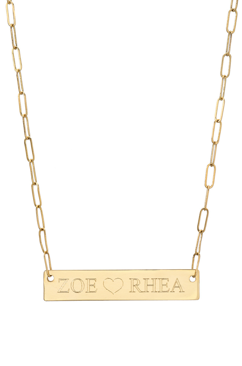 14k gold nameplate with open link chain necklace