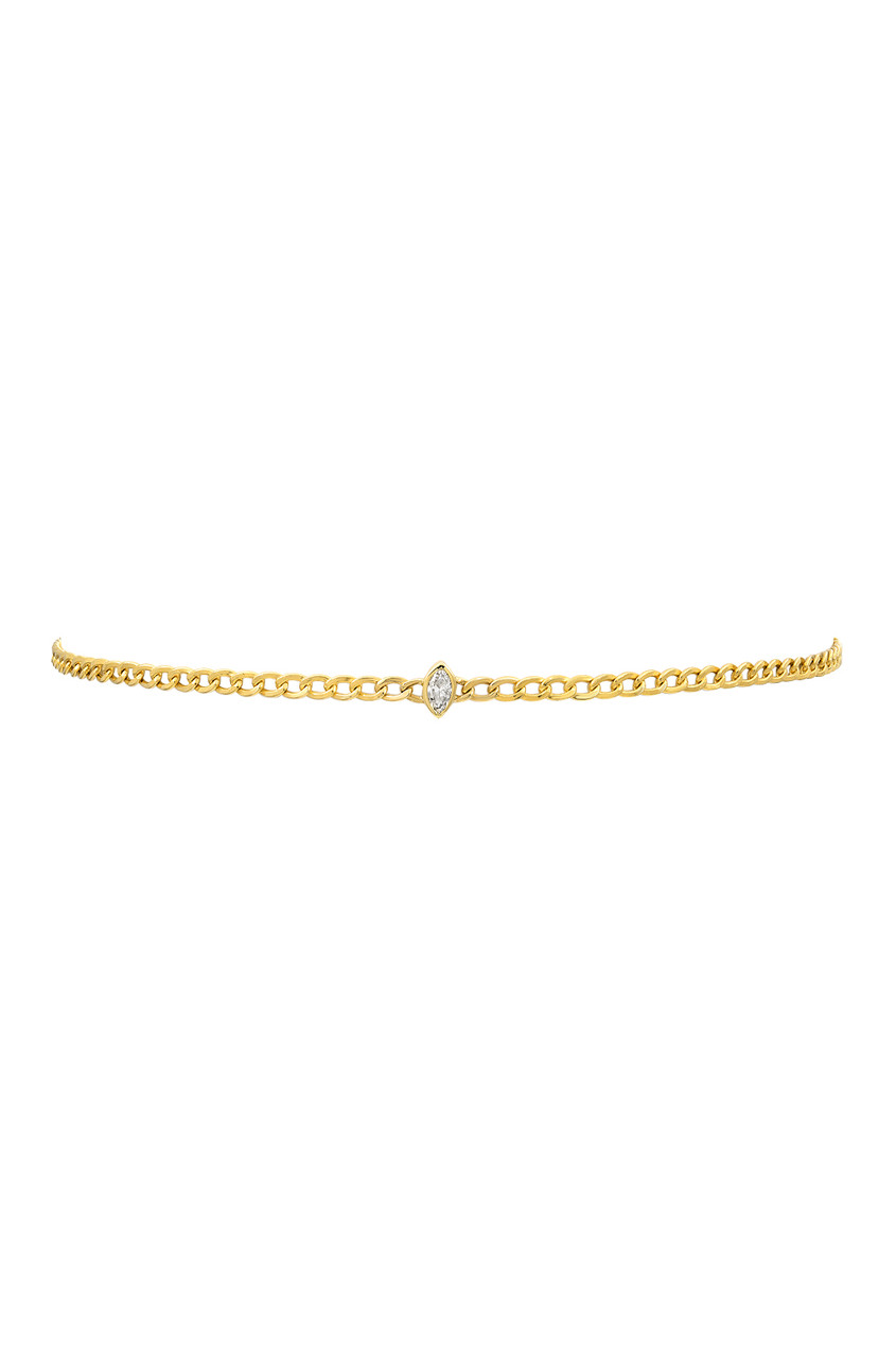 Cuban Link Choker with Marquise Diamond