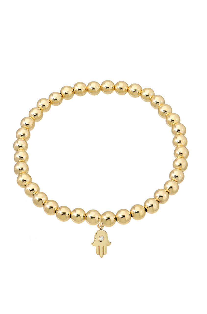 14k Gold Bead Bracelet with Charm