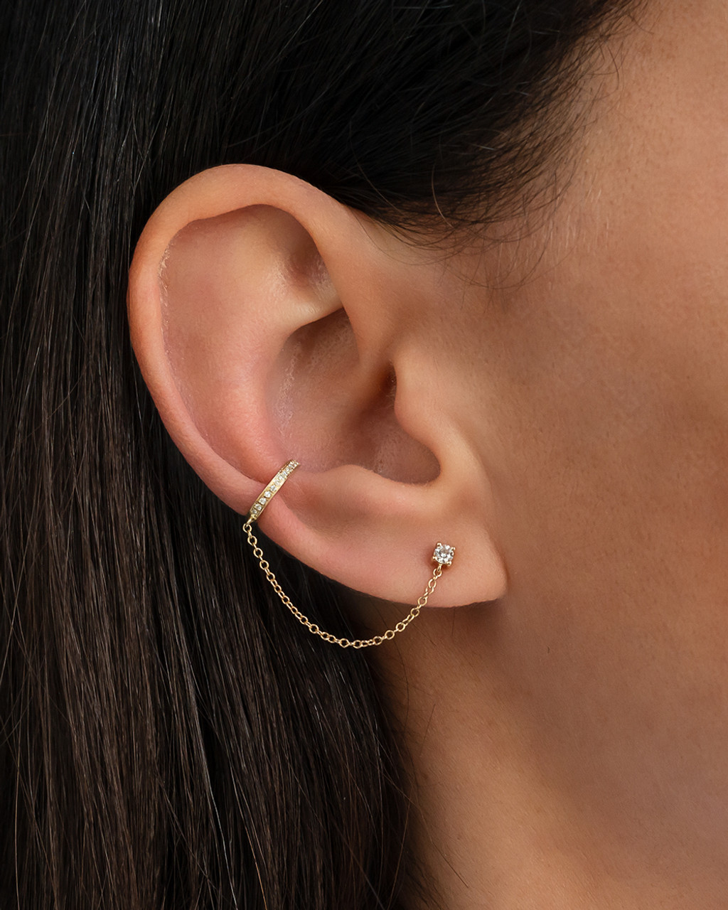 Diamond ear cuff with diamond stud chain