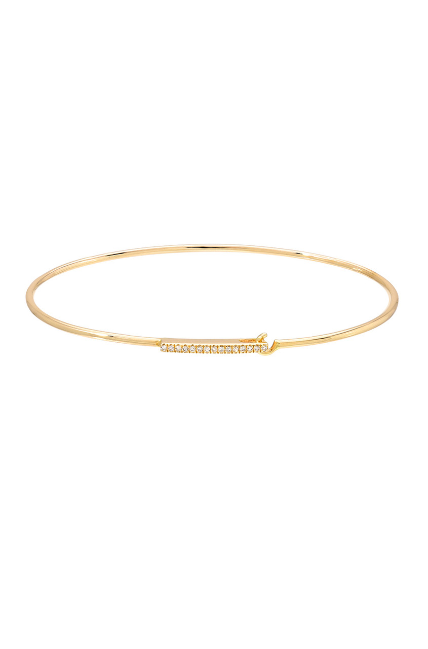 14k gold diamond bar bangle