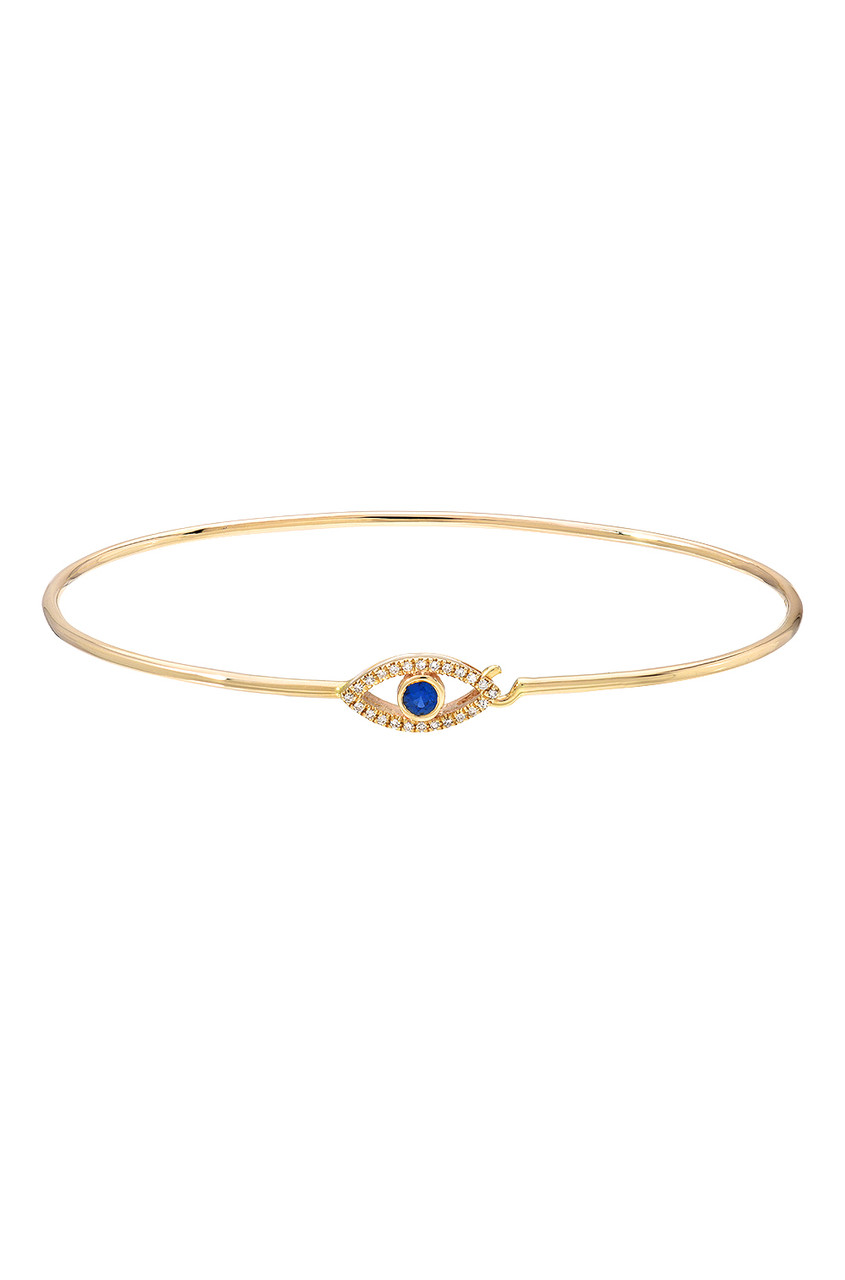 14k gold diamond evil eye bangle