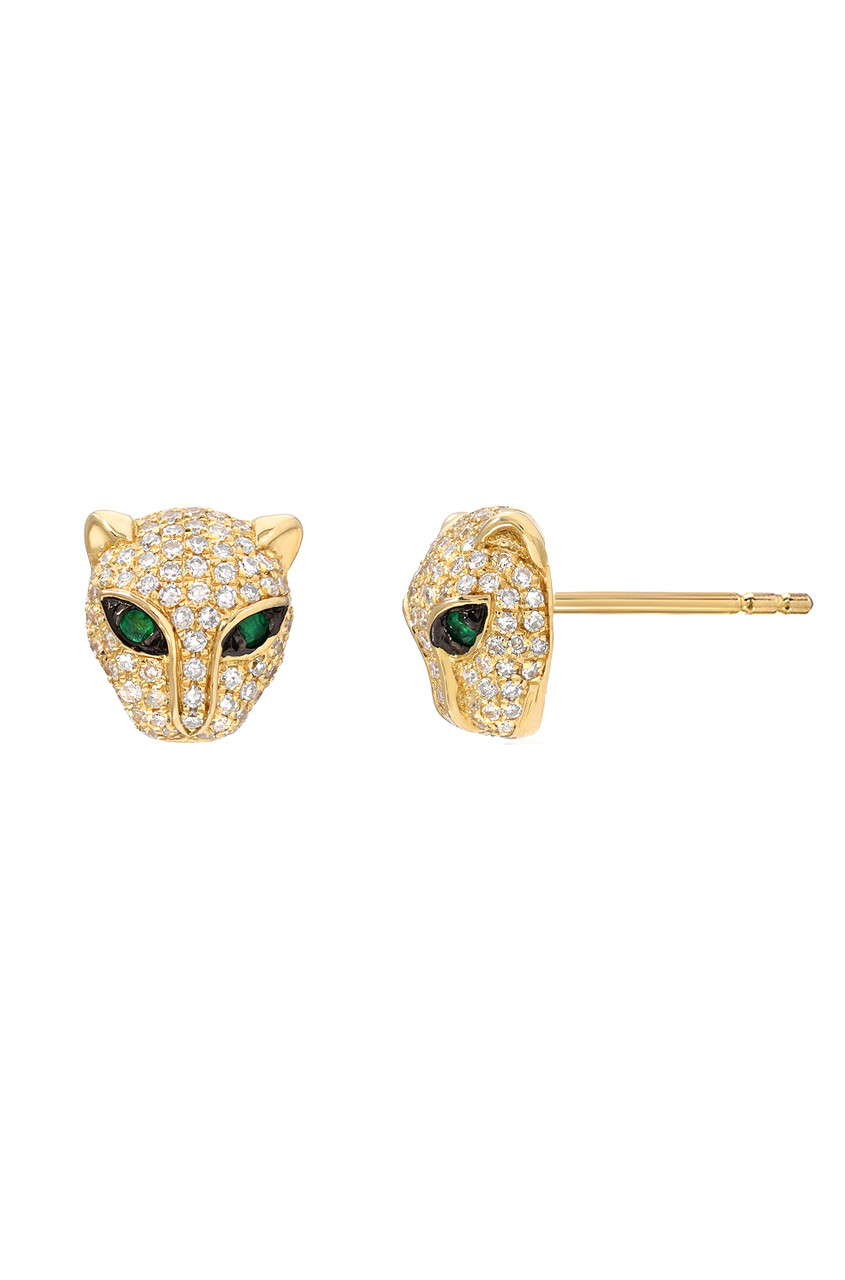 Diamond Leopard Stud Earrings