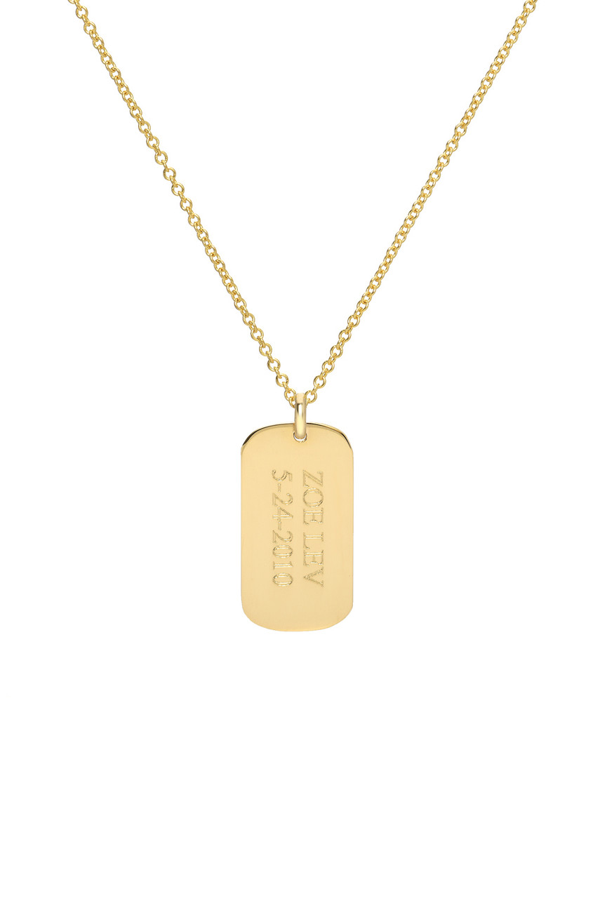 14k Gold Small Dog Tag Necklace