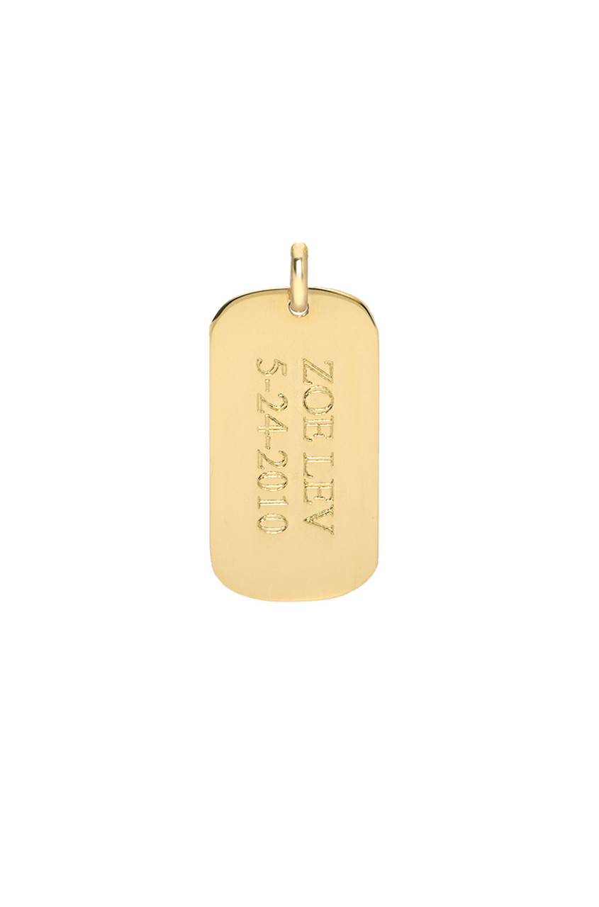 14k gold small engraved dog tag
