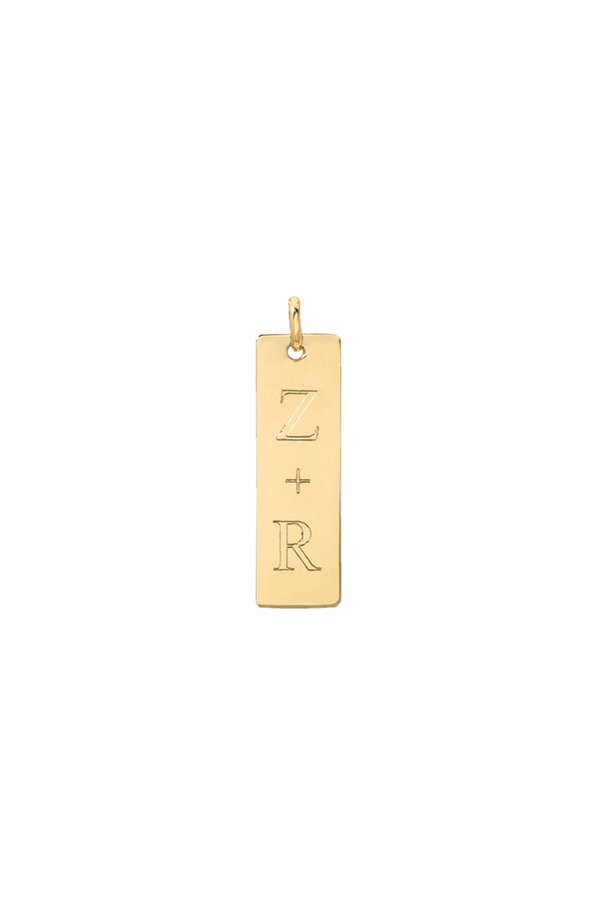 14k Gold Small Vertical Nameplate Pendant