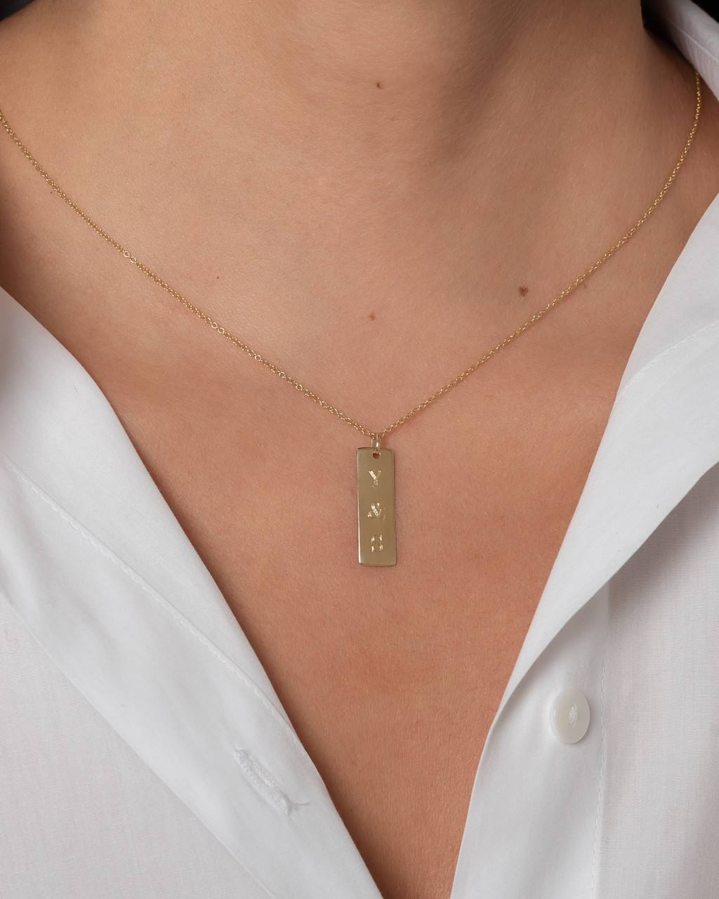 14k gold small vertical nameplate