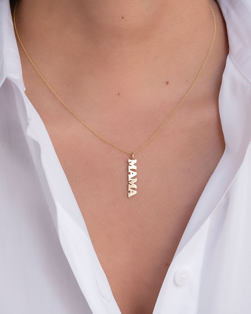 14k Gold MAMA Pendant Necklace