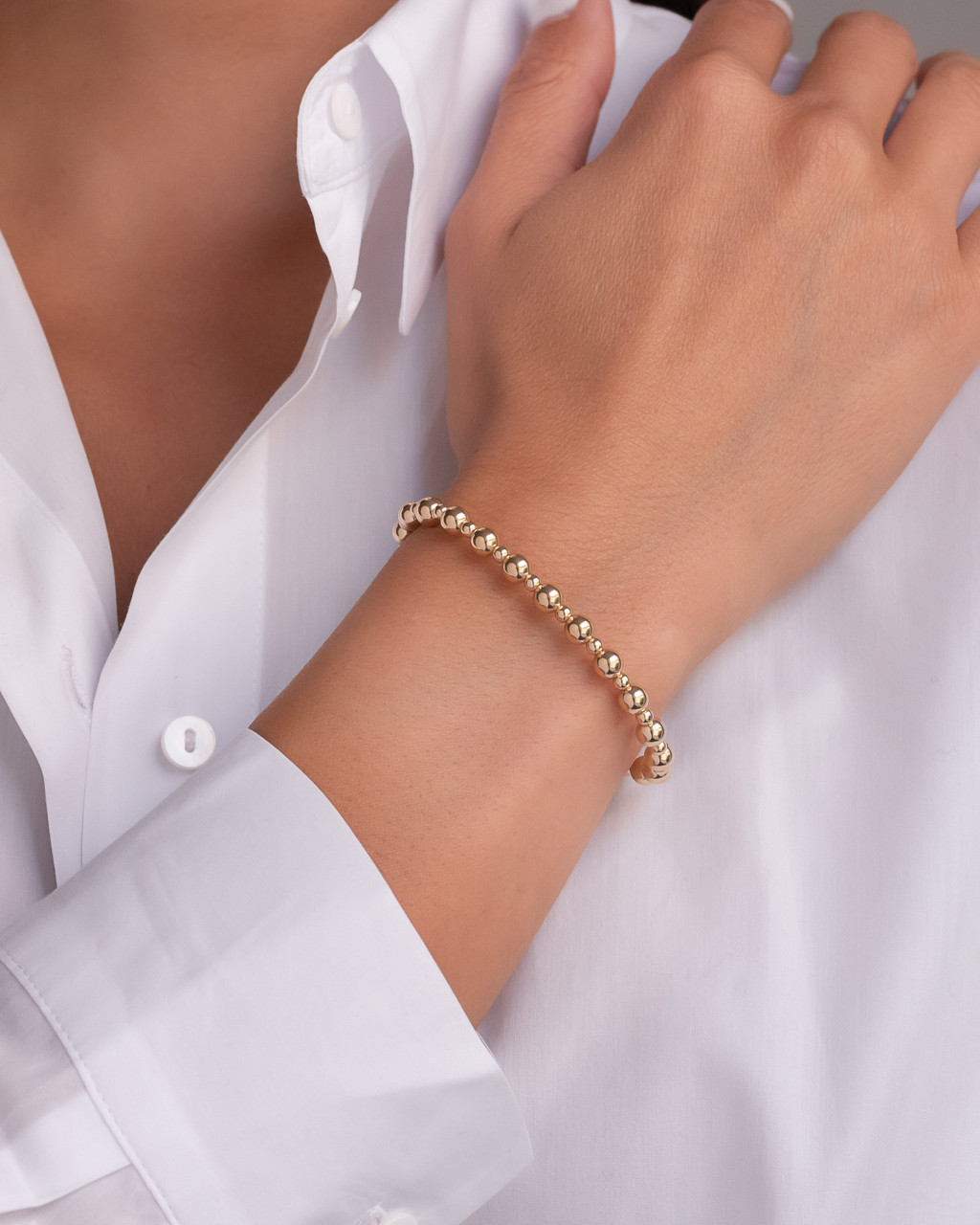 14k Gold 3mm and 5mm Bead Bracelet