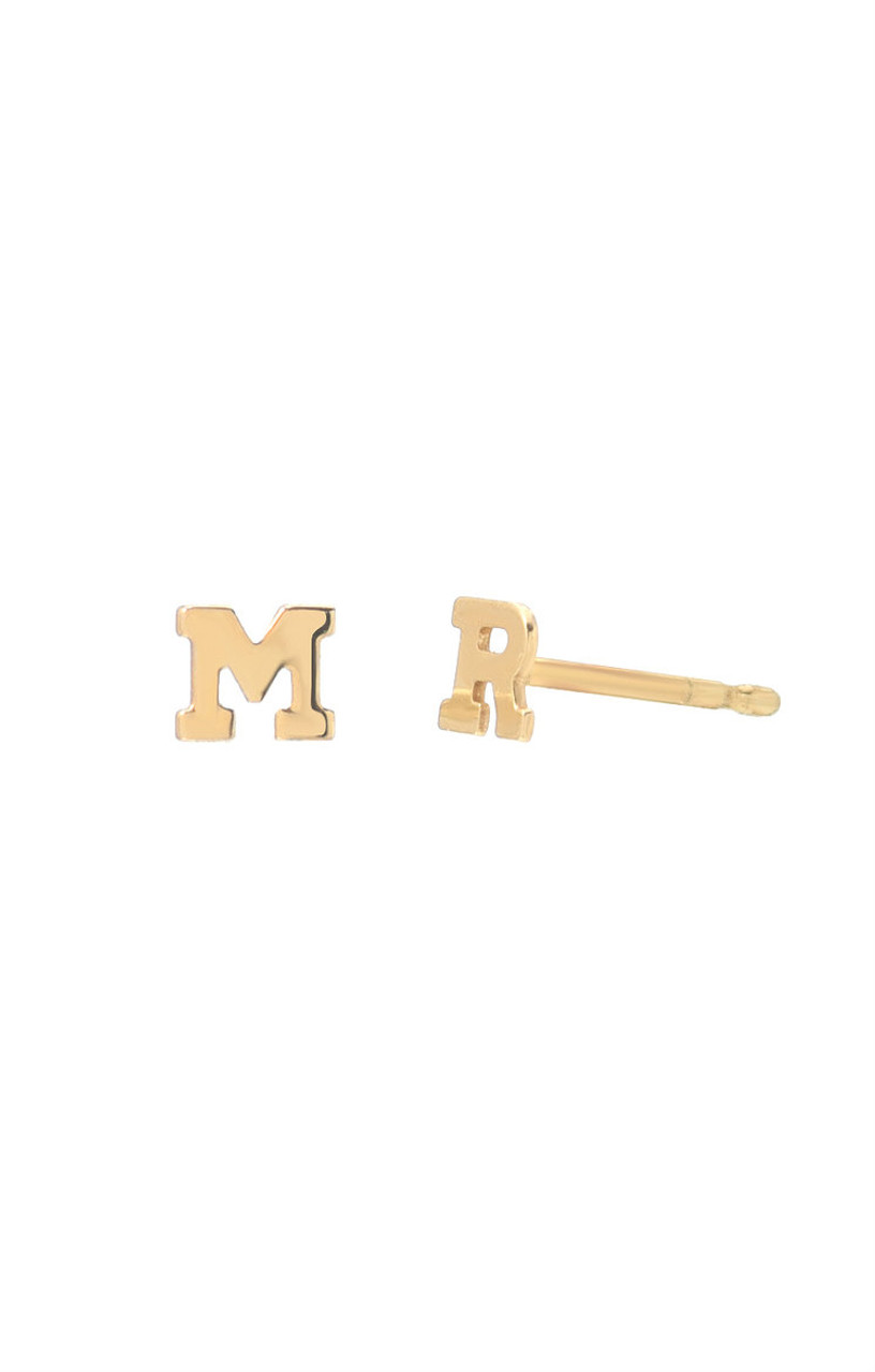 Mini 14k Gold Initial Stud Earrings