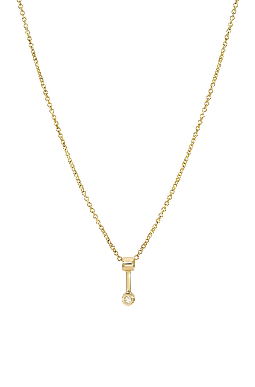 Small bezel diamond anchor necklace
