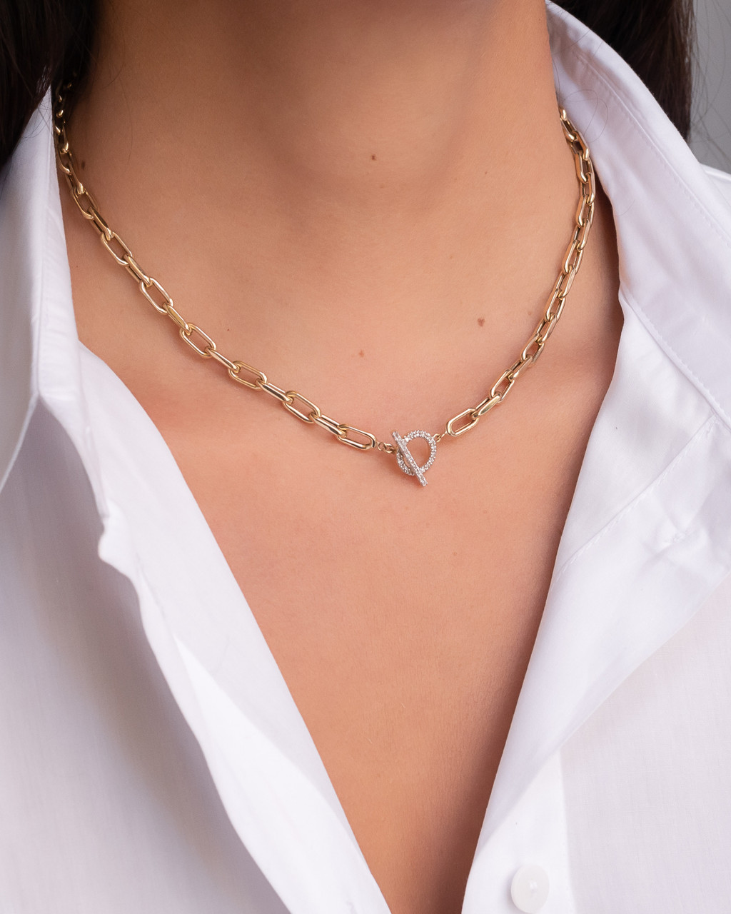 14k Gold Large Open Link Chain with Diamond Toggle Necklace- Out of Stock