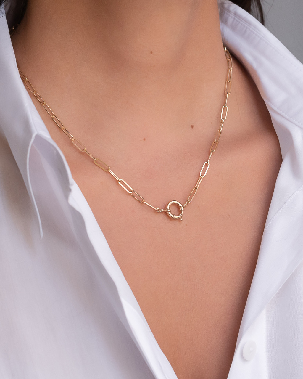 14k Gold Paper Clip Chain with Large Clasp Necklace