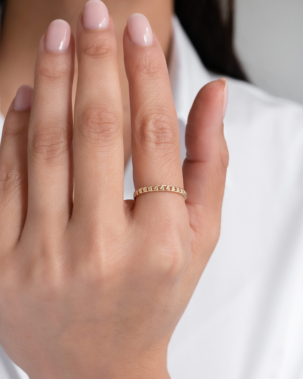 14k Gold Thin Solid Cuban Link Ring