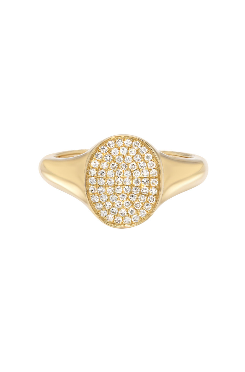 14k Gold Diamond Signet Ring