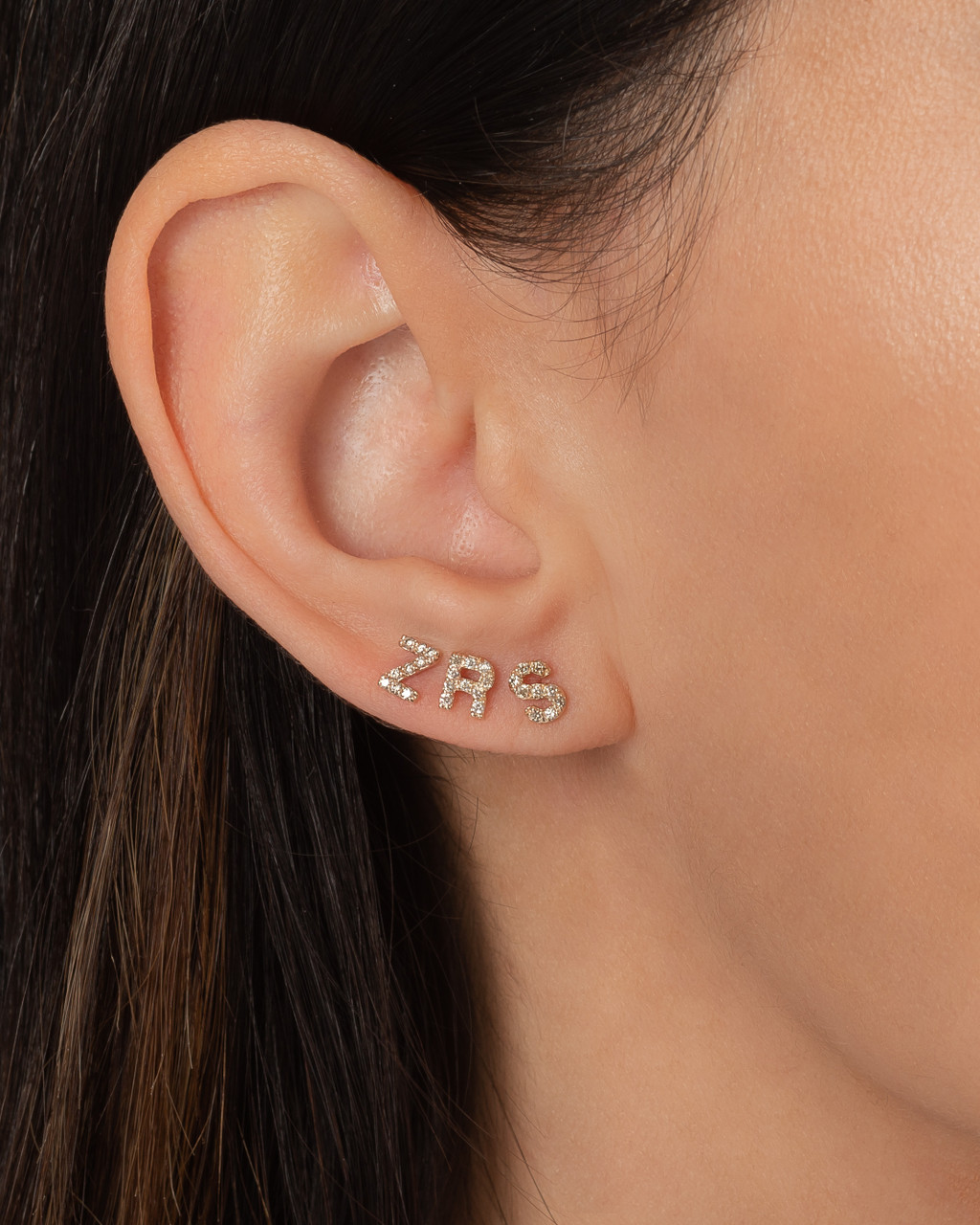 Diamond Initials Stud Earrings