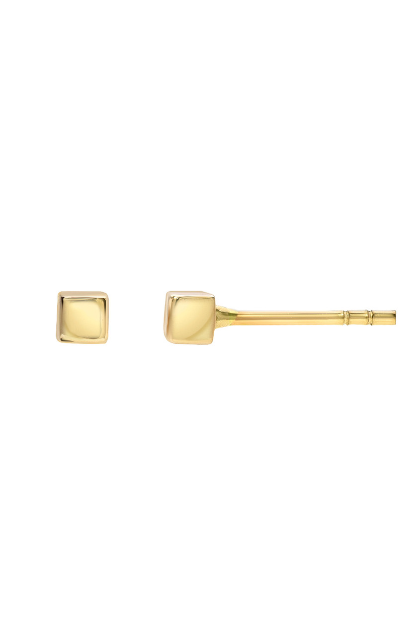 14k Gold Tiny Cube Stud Earrings