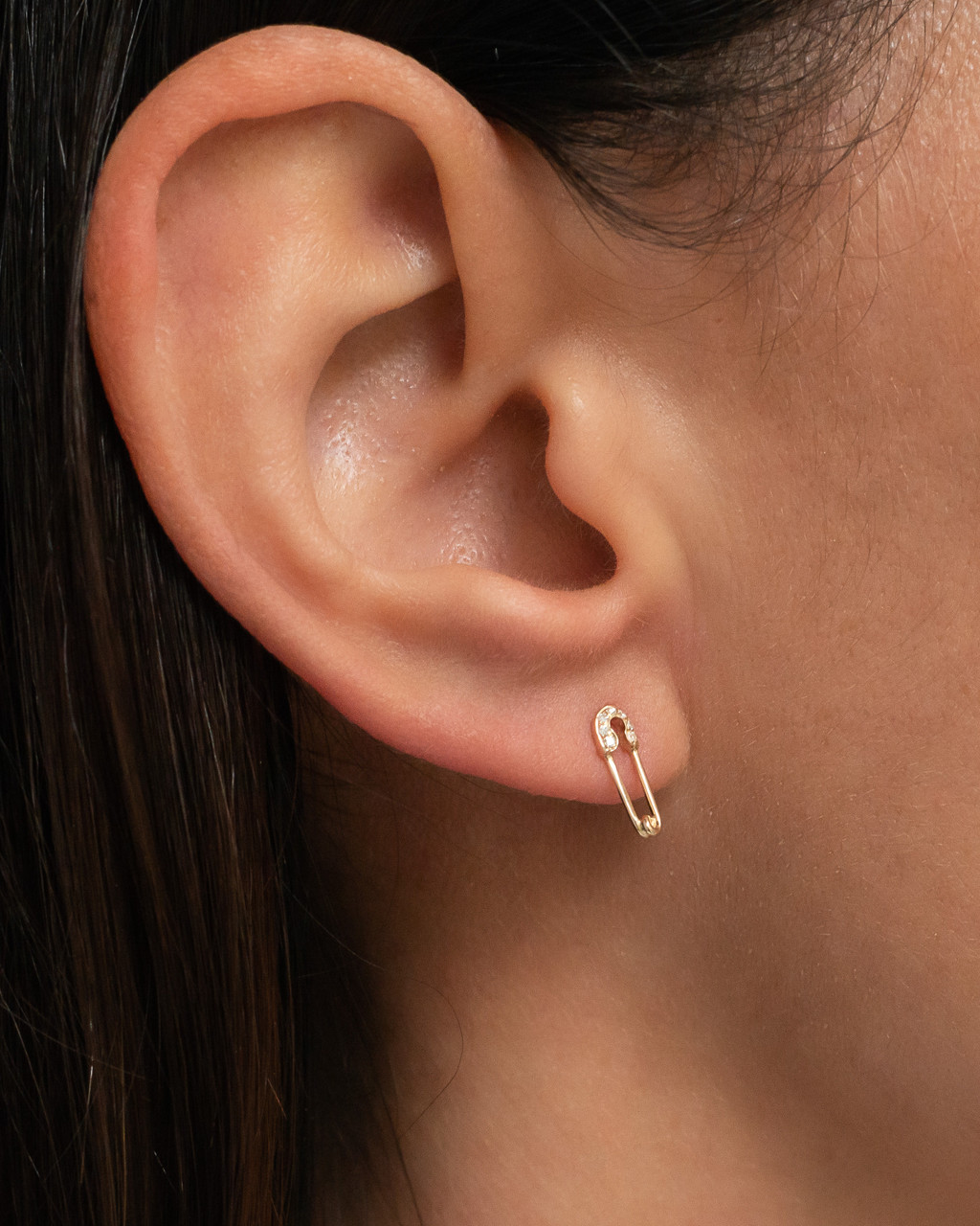14k Gold Small Diamond Safety Pin Stud Earrings