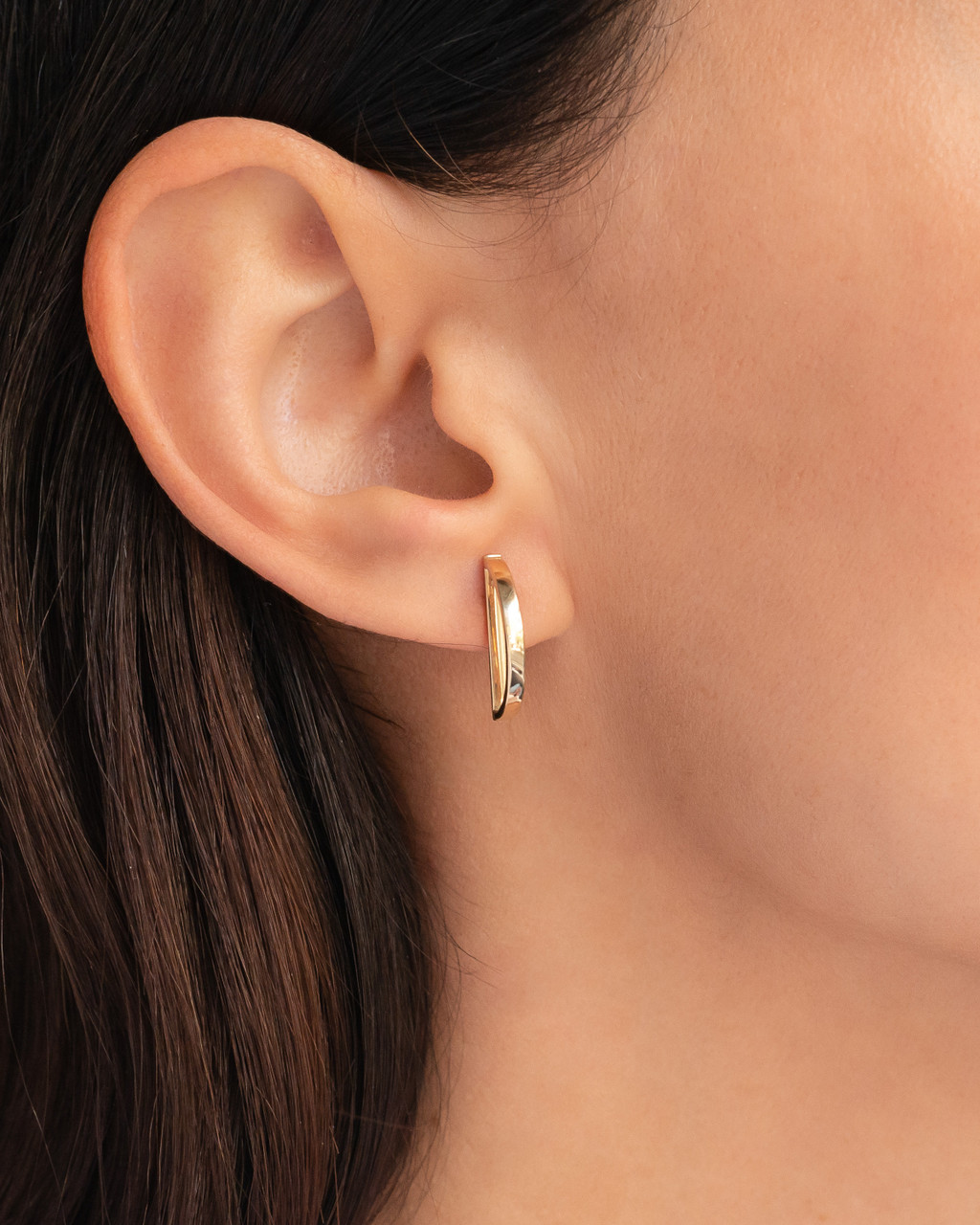 14k Gold Half Circle Stud Earrings