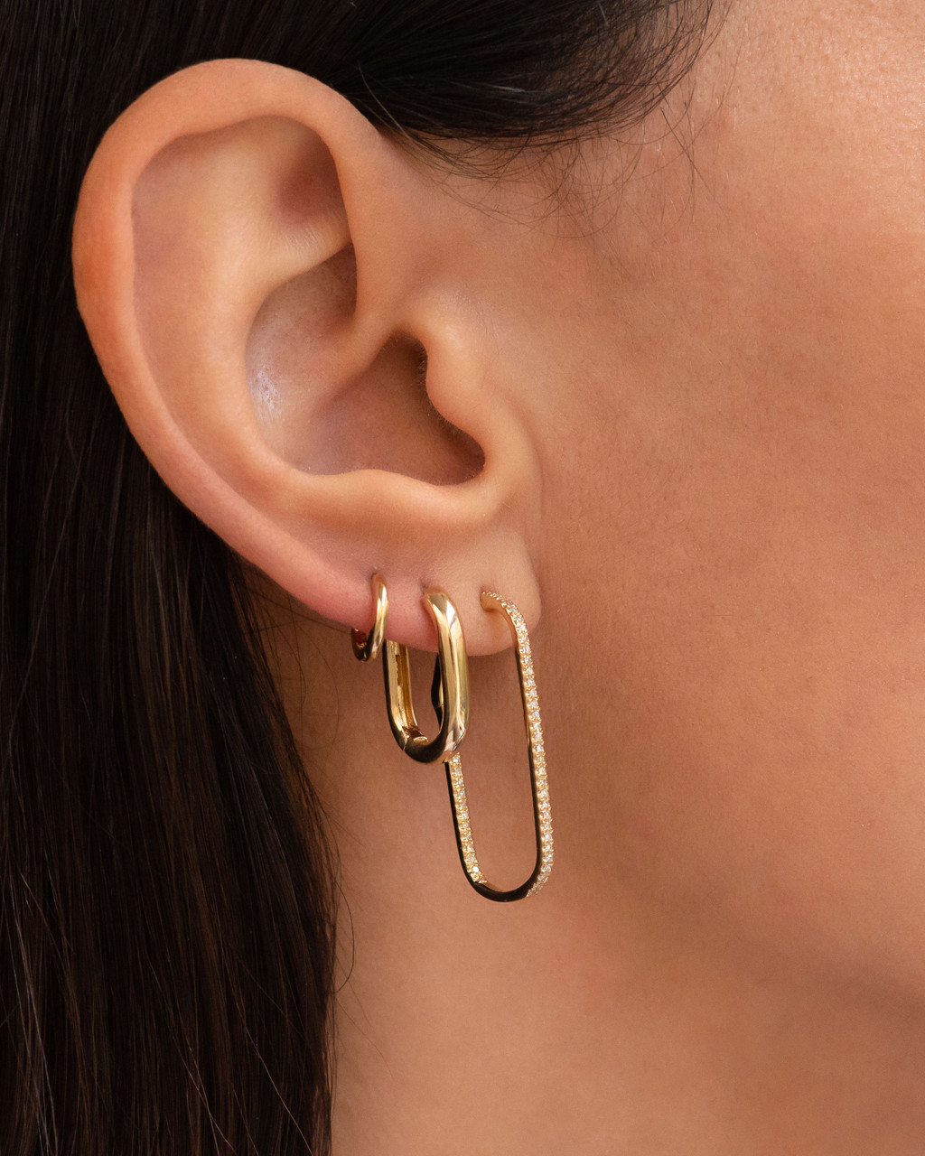 14k Gold Thick Rectangle Hoop Earrings