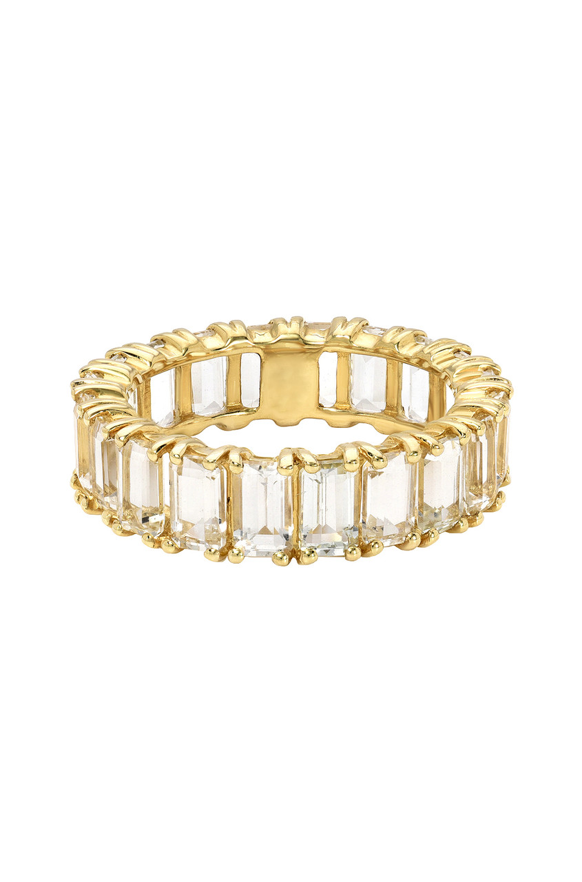 Topaz Eternity Emerald Cut Ring