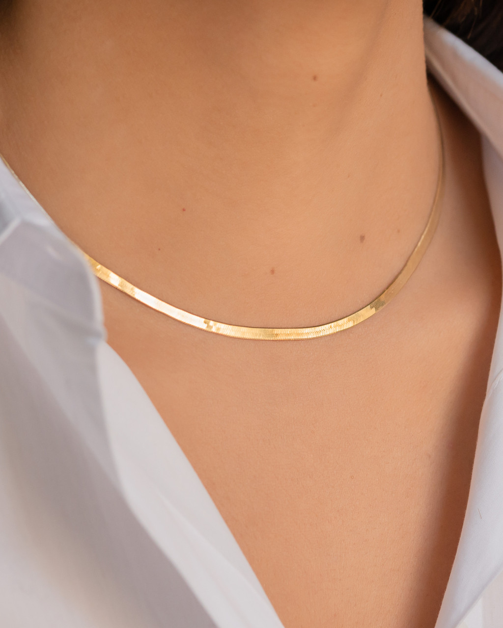 14k Gold Herringbone Necklace