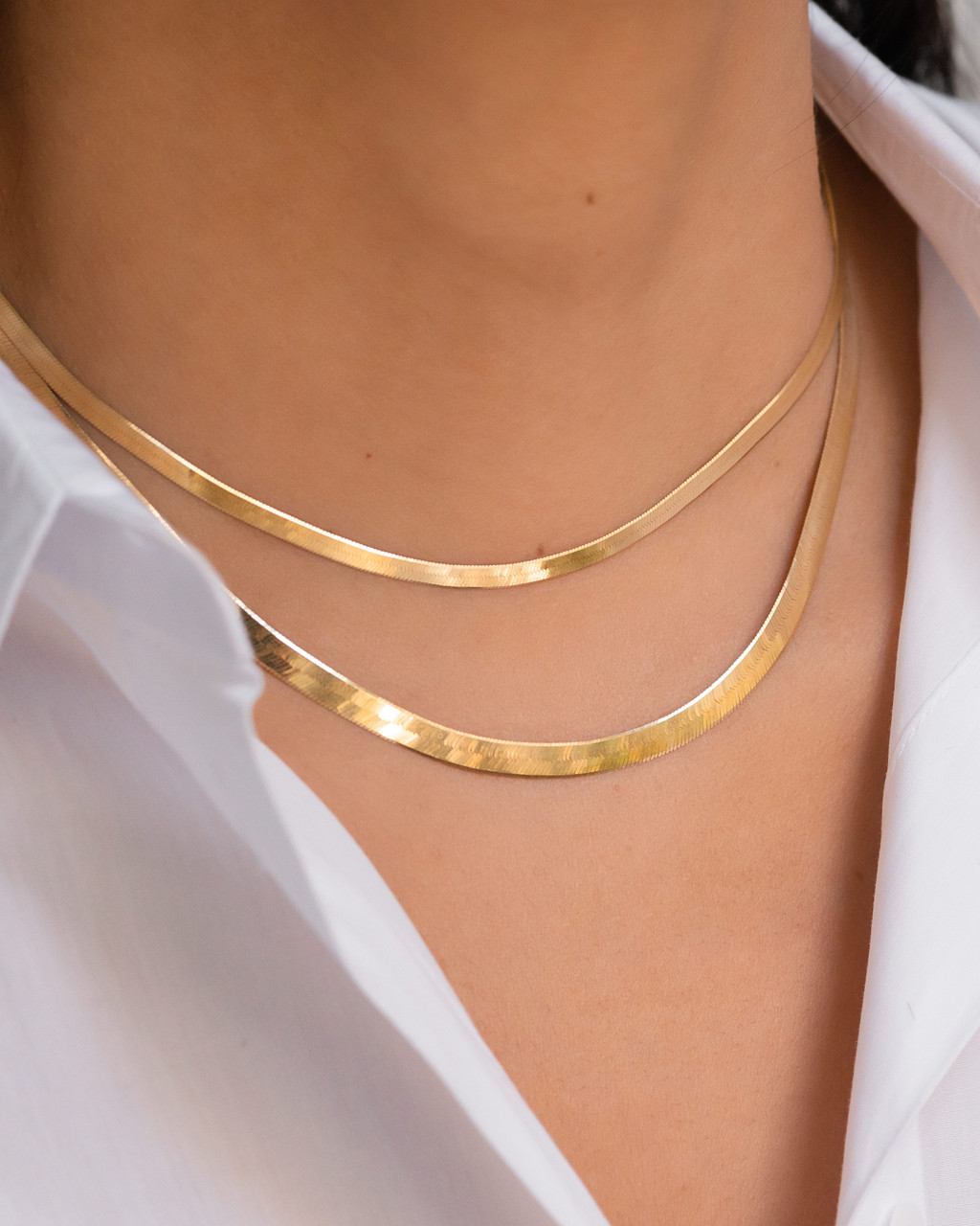 14k Gold Large Herringbone Necklace- Out of Stock