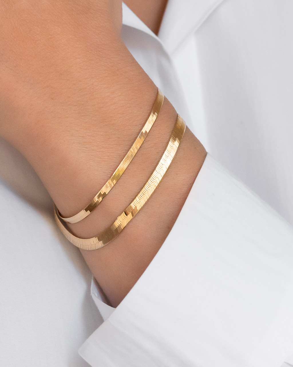 14k Gold Large Herringbone Bracelet - Out of Stock