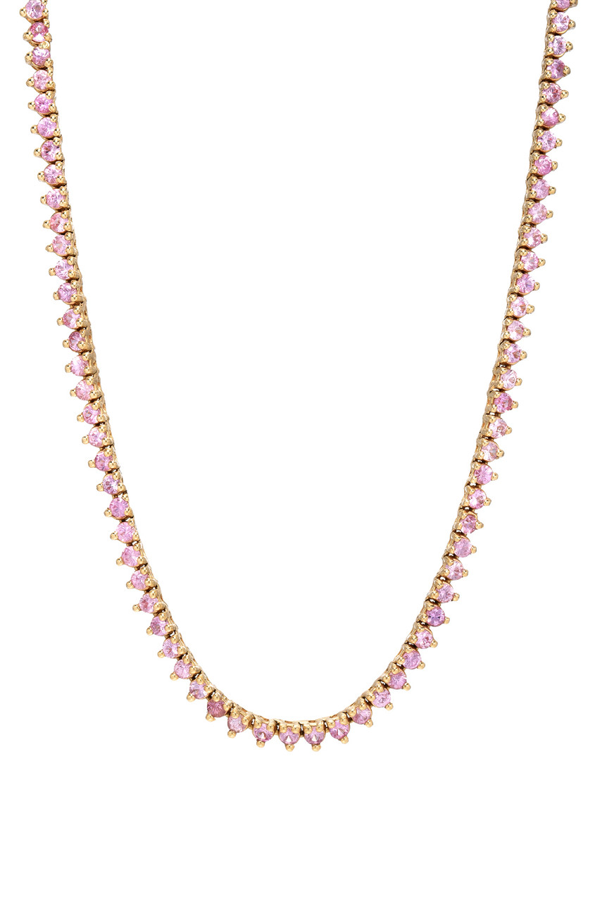 3 Prongs Pink Sapphire Tennis Necklace