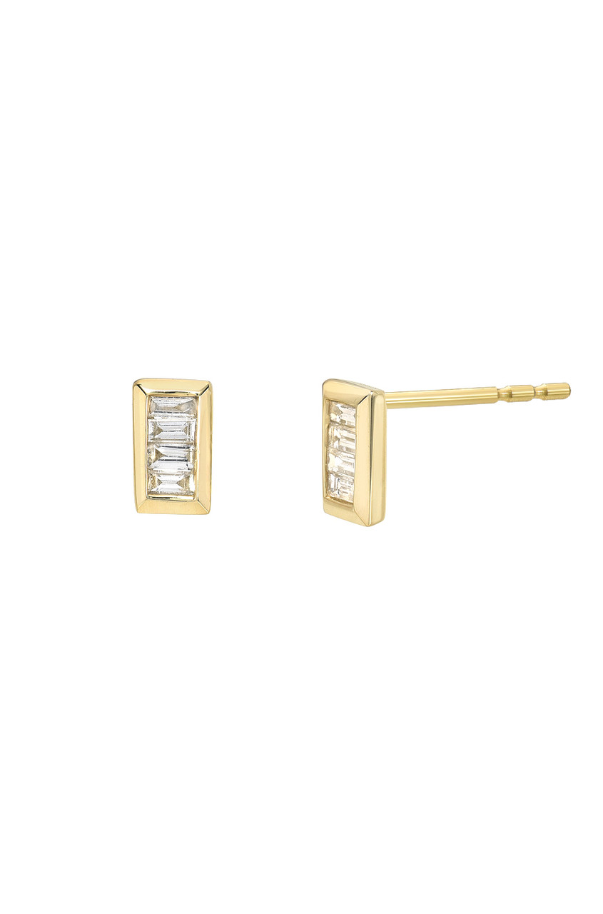 Stacked Baguette Diamond Stud Earrings