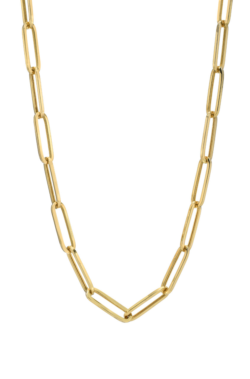 14k Gold Extra Large Paper Clip Chain Necklace