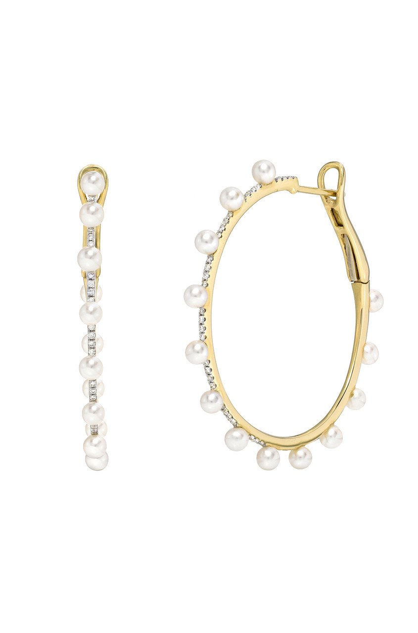 Diamond and Pearl Hoop Earrings