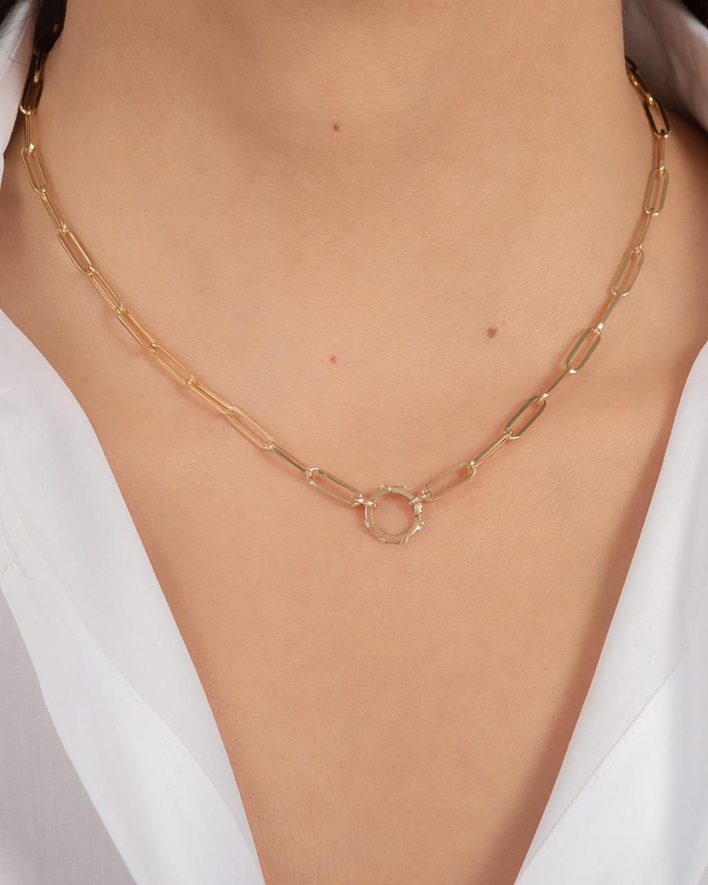 14k Gold Large Paper Clip Chain with Diamond Enhancer Necklace