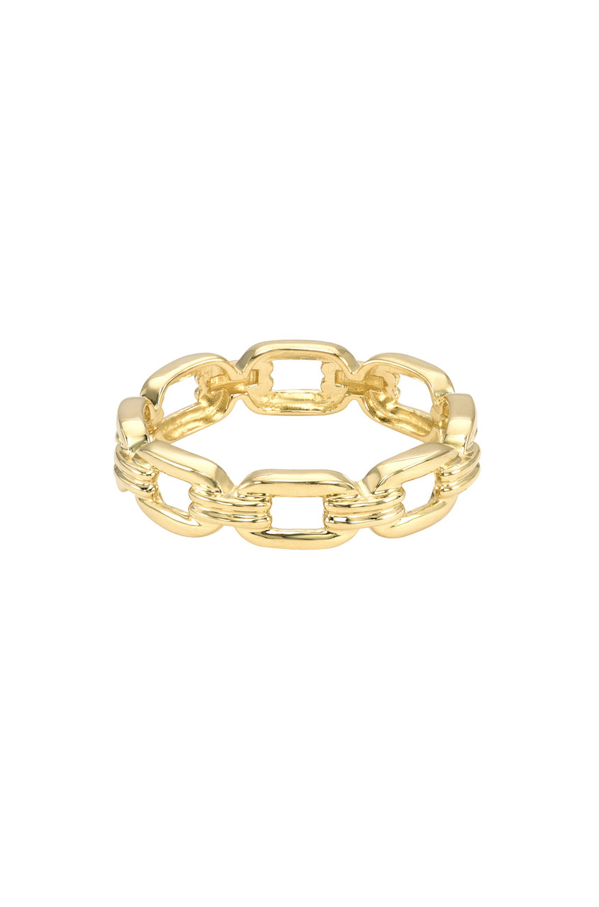 14k Gold  Square Link Ring