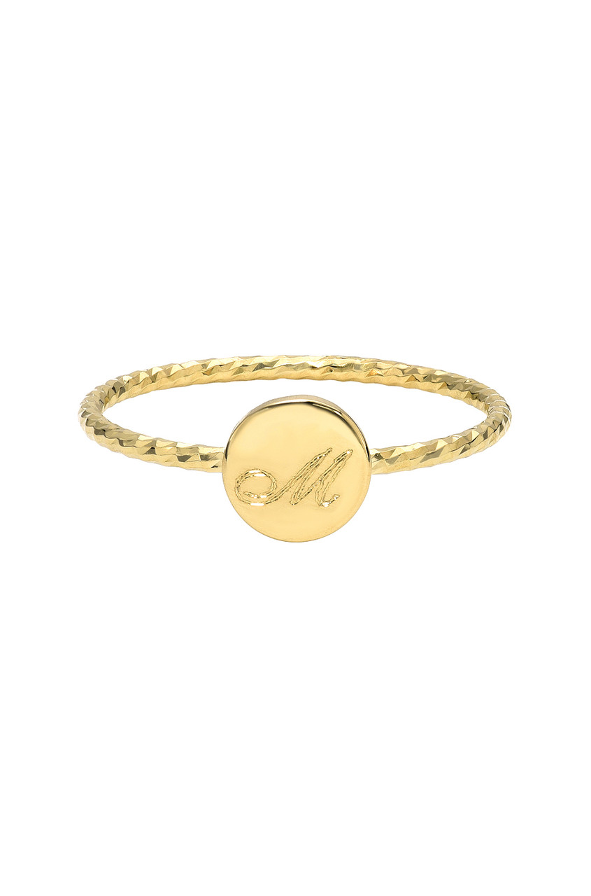 14k Gold Twist Band with Engraved Disc