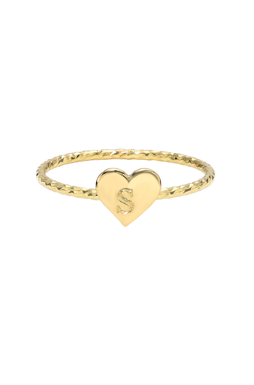 14k Gold Twist Band with Engraved Heart