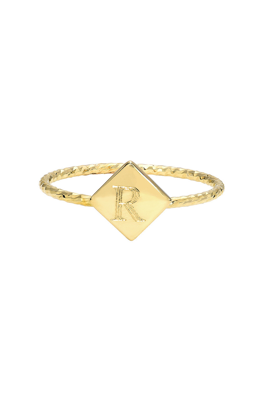 14k Gold Twist Band with Engraved Square