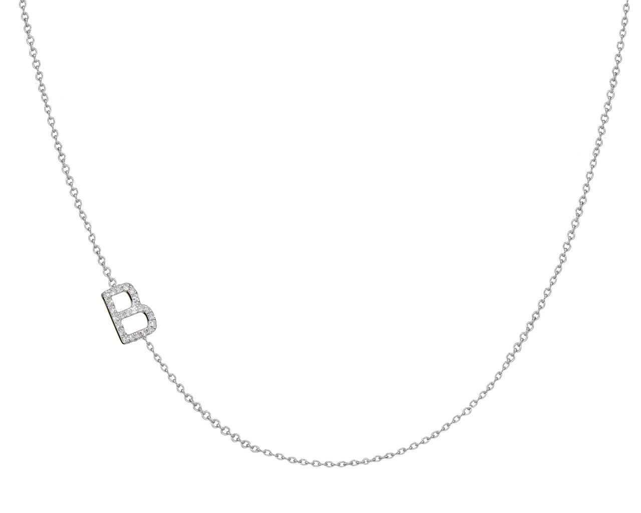 diamond initial side necklace