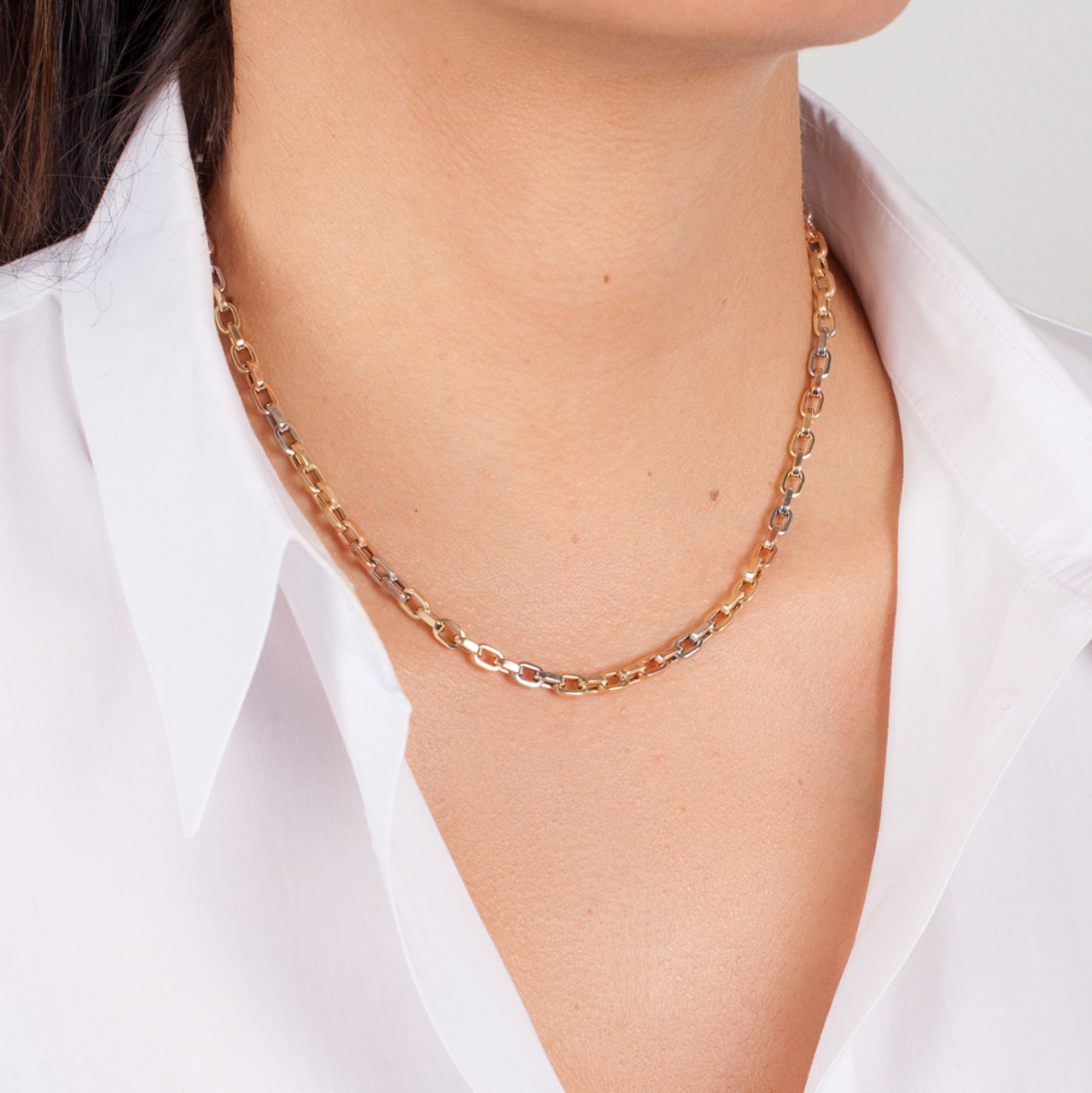 14k Gold Multi Tone Oval Link Chain Necklace