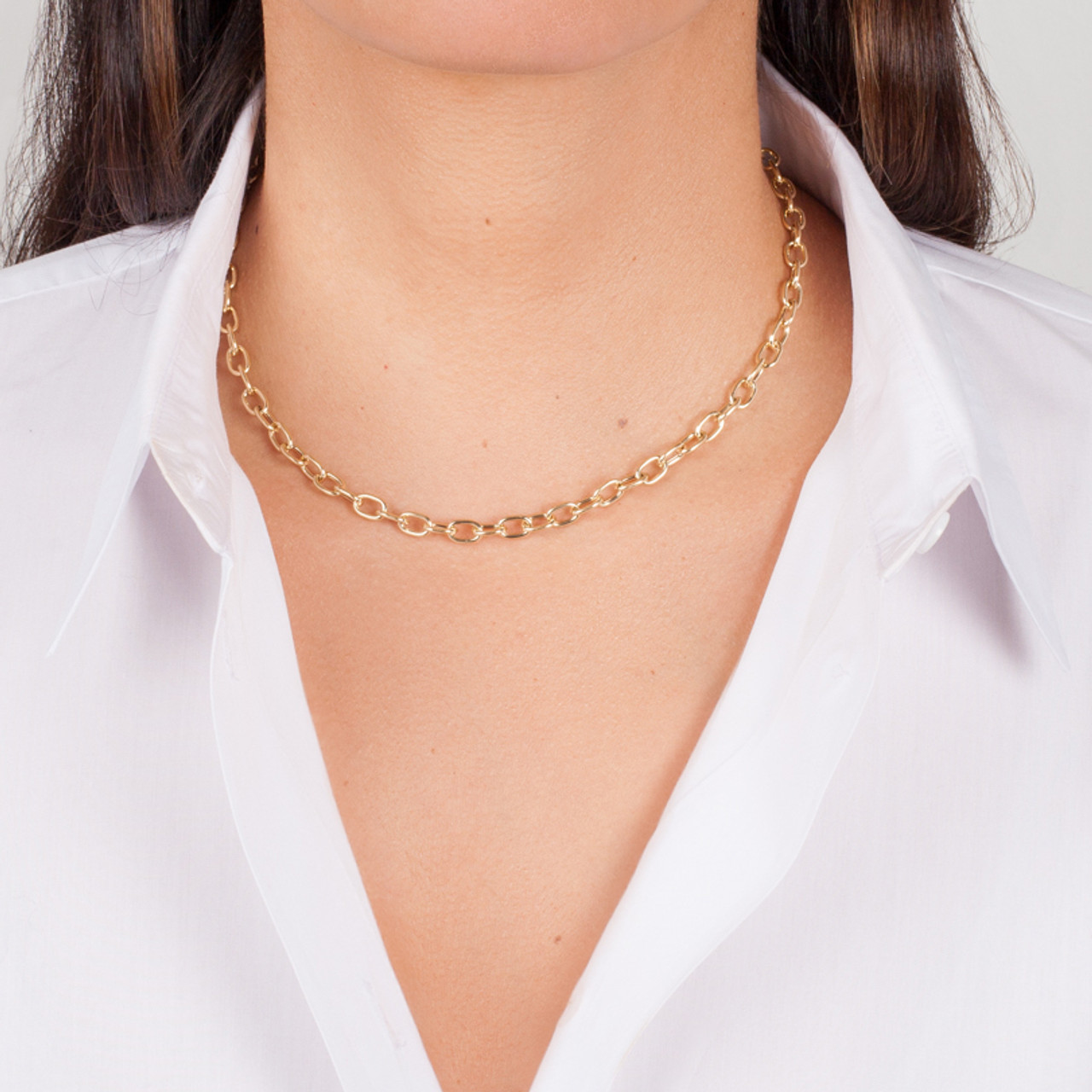 14k Gold Anchor Link Chain Necklace