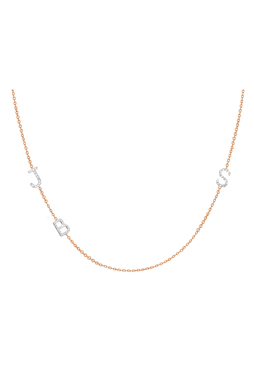 Diamond asymmetrical multiple initials necklace