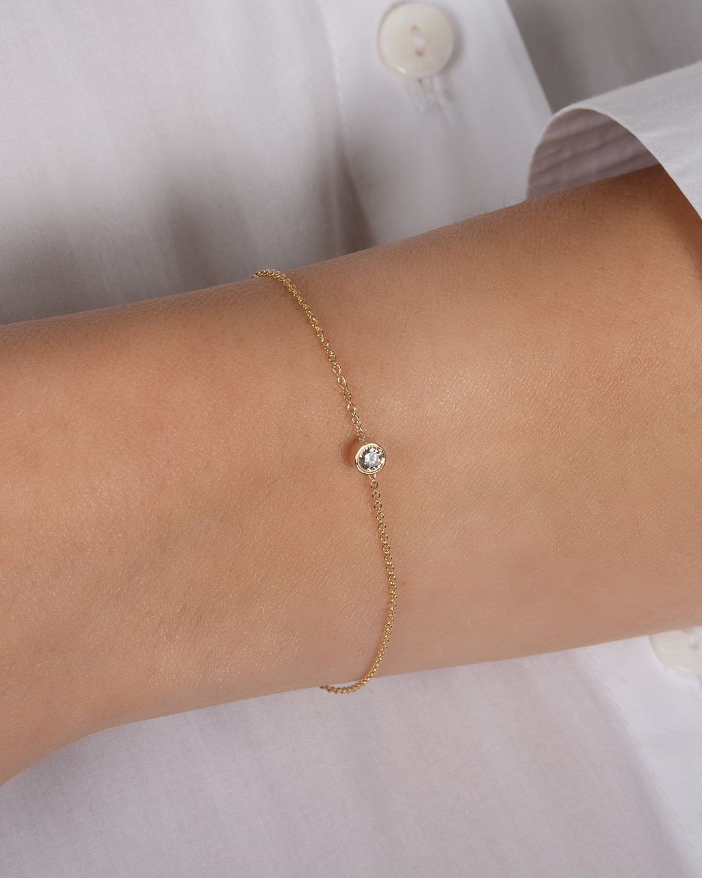Large Bezel Diamond Bracelet