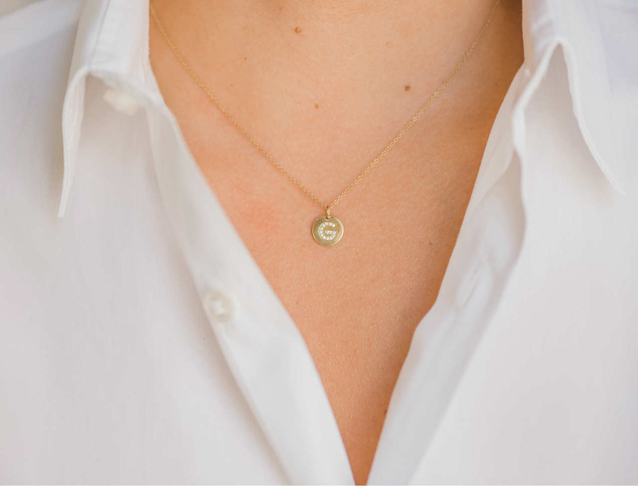 14k Gold Small Diamond Initial Disc Pendant