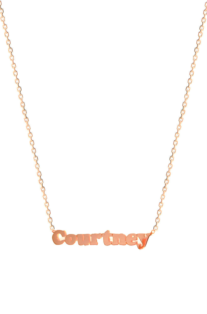 14k Gold Block Name Necklace