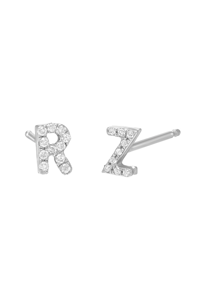 small diamond initial earrings
