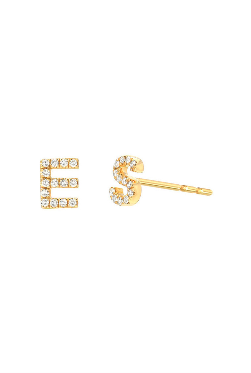Mini Diamond Initial Stud Earrings