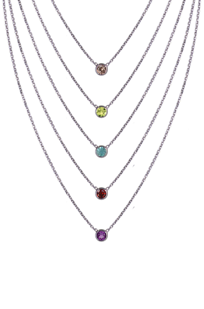 14k Bezel birthstone necklace