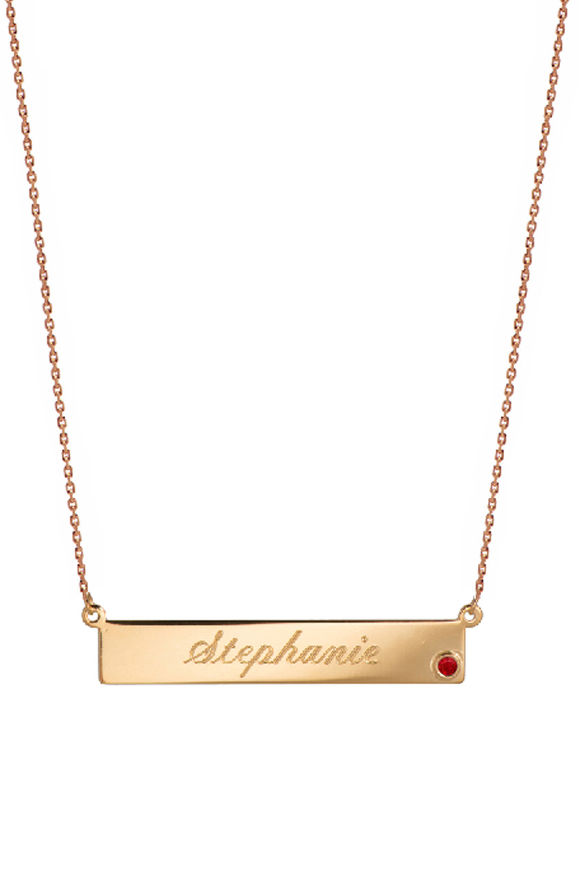 birthstone nameplate necklace