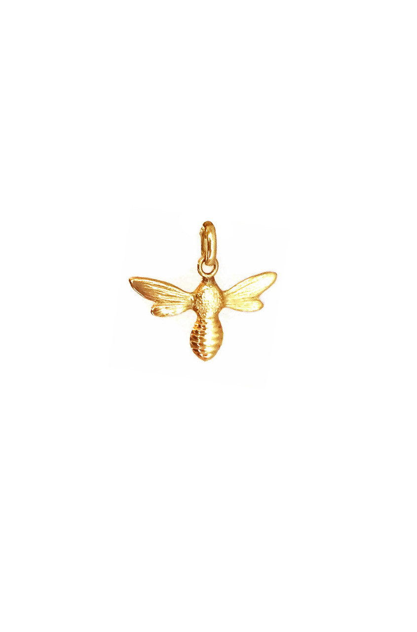 14k Gold Small Bee Pendant